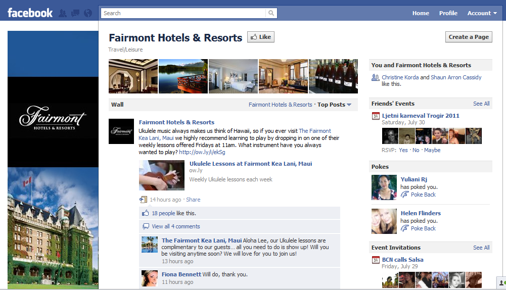 Fairmont Hotels on Facebook Hotel Industry increase revenue the smart way. Participate in Social Media!