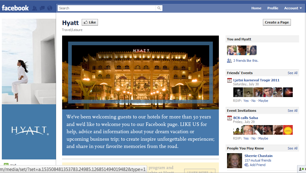 Hyatt on Facebook Hotel Industry increase revenue the smart way. Participate in Social Media!