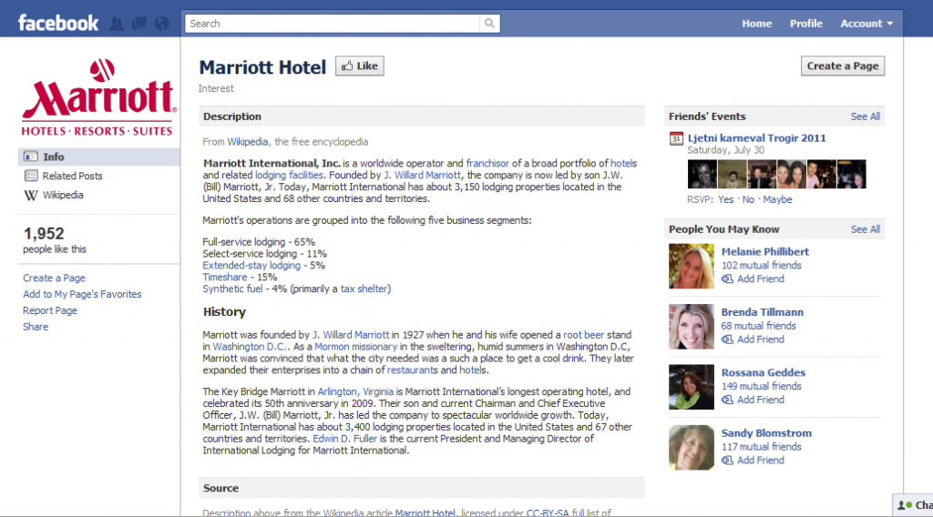 Marriott Hotel on Facebook 1024x568 Hotel Industry increase revenue the smart way. Participate in Social Media!