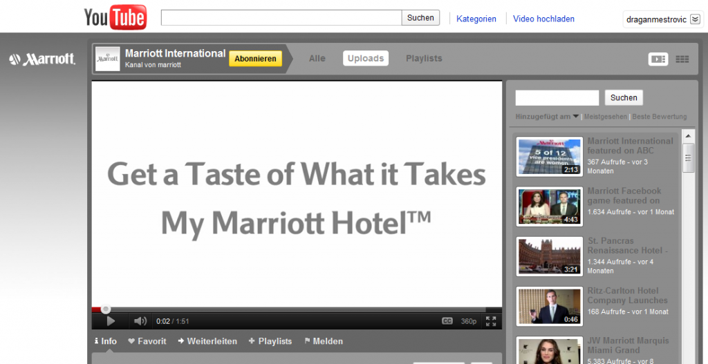 Marriott International on YouTube 1024x527 Hotel Industry increase revenue the smart way. Participate in Social Media!