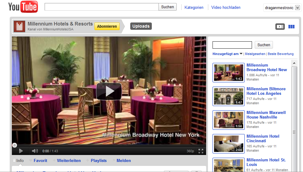 Millennium Hotels on Youtube Hotel Industry increase revenue the smart way. Participate in Social Media!