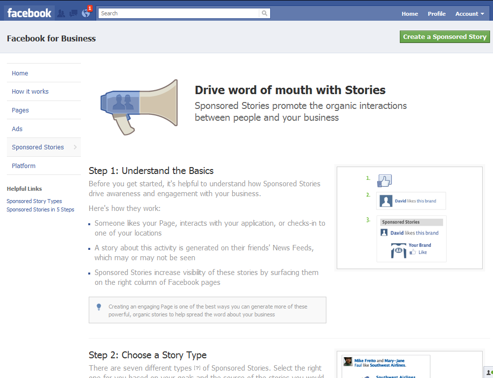 facebook sponsored stories