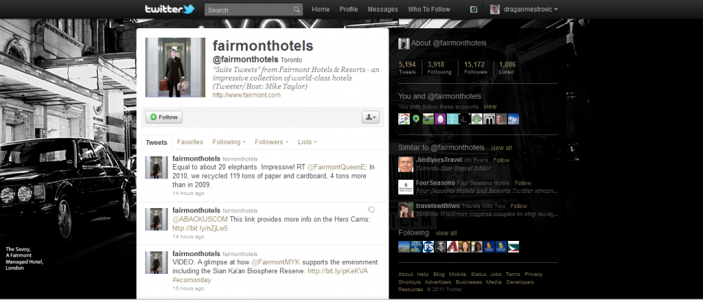 fairmont hotels on twitter 1024x437 Hotel Industry increase revenue the smart way. Participate in Social Media!