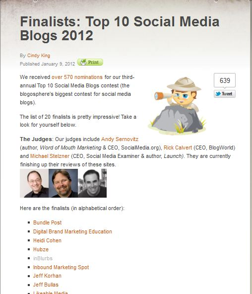 inblurbs nominated for top blog inBlurbs Blog is nominated as one of the 20 finalists