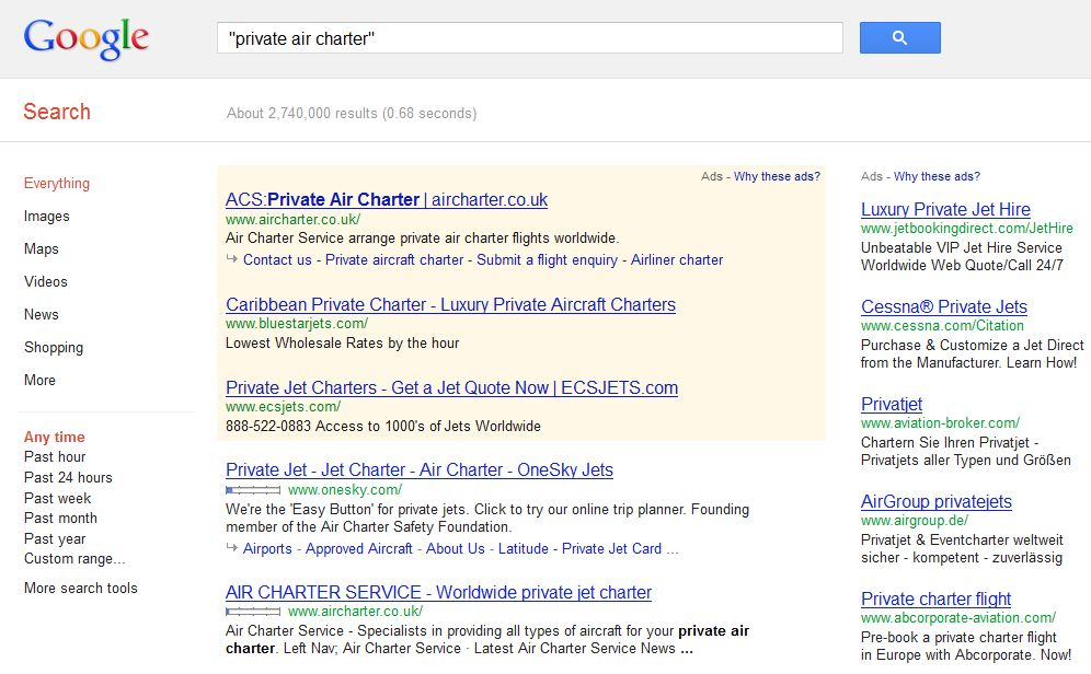 private air charter search results on google